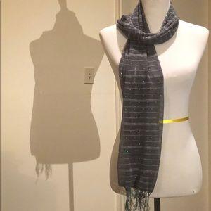 Accessories - Grey striped disco scarf